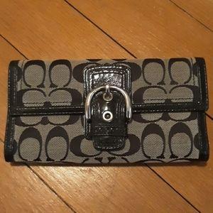 Black Coach Wallet TriFold